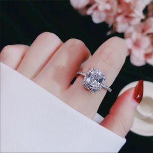 New s925 sterling silver CZ diamond wedding ring